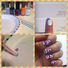 Circle nail  design:Start with a few straws, a paper plate, a white polish and any other colors of your choice. Next paint all your nails with the white polish. This DOES NOT have to be perfect! Then drop polish onto the paper plate. Dip the end of the straw in the polish. Transfer polish from straw to nail and voila! Finish with a fast drying top coat :)