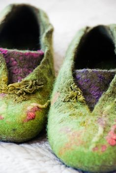 Women felted wool slippers, Green purple, Women house shoes. $73.00, via Etsy.