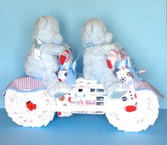 Diaper Tandem Bike Diaper Cake For Twins By Pamperedbabycreation