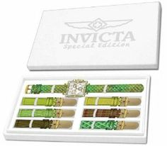 Invicta 10330 Women's Wildflower Classique Quartz Crystal Accented Green Watch w/ 7-Piece Leather Strap Set Invicta. $99.99. Swiss quartz movement. Silver dial with hands and hour markers; luminous; 48 crystals set on bezel; pushers and crown with cabochon crystal; 6 additional interchangeable straps included. Chronograph functions with 60 second, 30 minute and day of the week subdials; date window at 4:00. Flame-fusion crystal; stainless steel case; leather strap with...