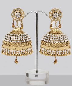 Shining Large Golden Jhumka Earrings With Stones