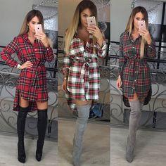 Autumn Women Long Sleeve Plaids&Check Tartan Blouse Shirt Dress S M L XL Size 2017 fashion Casual Plaid Dress BB0163 #Affiliate