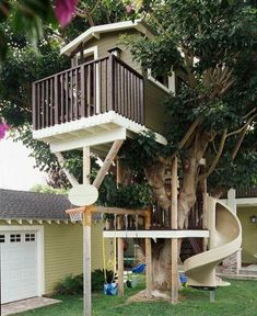 This fun treehouse packs a whole lot of features into a small space.   14 fun treehouses and playhouses   Living the Country Life   http://www.livingthecountrylife.com/buildings-fences/outdoor-ideas/14-fun-treehouses-and-playhouses/