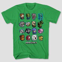 Boys' Minecraft Mini Mob Charge Short Sleeve T-Shirt - Kelly Green XS