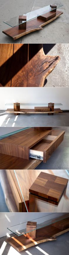 SENTIENT Foothills Walnut and Glass Console   The SENTIENT Foothills live edge…