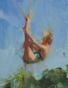 David Shevlino (American, Diver in Green, Oil on panel. Upside Down, Oil on canvas. Painting People, Figure Painting, Painting & Drawing, Underwater Art, Art Terms, Draw On Photos, Figurative Art, Traditional Art, Painting Inspiration