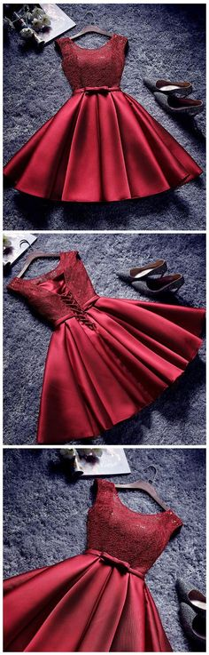 Red A-line Lace-Up Back Homecoming Dresses with Bowknot Sash