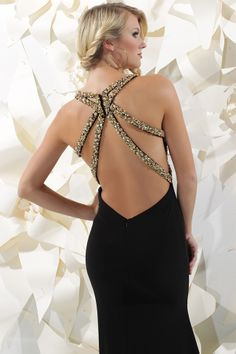 Sparkle 2013 Black and Gold V-neck Sequin Decorative back Prom Dress 71161 | Promgirl.net