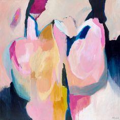 Large ABSTRACT PAINTING pink grey blue giclee por SarinaDiakosArt