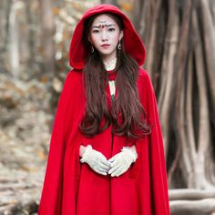 Vintage-Womens-Red-Woo-Blend-Full-Length-Hooded-Cape-Trench-Coat-Cloak