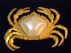 Vintage Trifari Pearl Belly Crab Brooch Zodiac Cancer