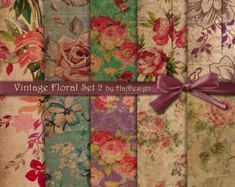 Shabby chic digital paper : VINTAGE ROSES vol 3 by quakasupapers