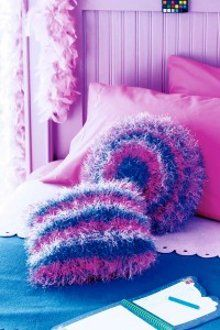 Fluffy Striped Knitted Pillows