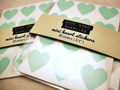 Home made labels for honey jar favors?  Mini Mint Green Heart Stickers 0.75