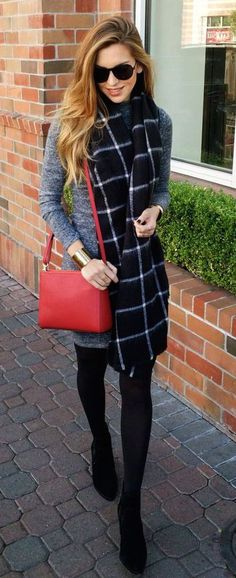 #winter #fashion / gray knit dress + tartan scarf