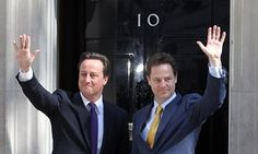 Nick Clegg at 10 Downing Street with David Cameron on the first day of coalition government.