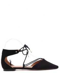 Lace-Up Pointed Toe Black Flat Shoes - Black