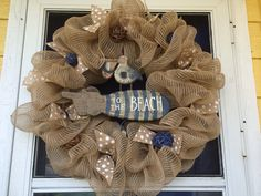 Beachy burlap mesh wreath