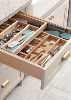 Whether your kitchen is small and you need all the countertop space you can get, or you prefer to keep a clutter-free cooking area (or both!), organized cabinets and drawers will get you there. Utilize the hidden storage available in your kitchen with canisters, utensil organizers, and creative cabinet pull-out systems.