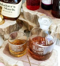 "Some of us prefer to keep our whiskey all to ourselves, and this glass decanter and low-ball glass set is designed for exactly that. The low-ball glass is engraved with the text, ""Mine,"" and the matching decanter reads, ""Also mine."" Fill 'er up with your spirit of choice, and cheers to someone especially dear—yourself, of course."