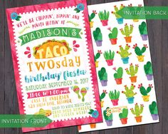 Taco Twosday Fiesta Birthday Invitations and/or Thank You