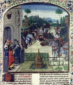 The combat of the Horatii and Curiatii, Facta et dicta memorabilia (BNF Fr. 289, fol. 360), second half of the 15th century