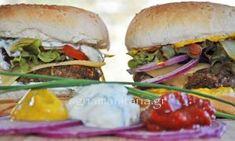 Νηστίσιμο Burger μανιταριών Salmon Burgers, Hamburger, Beef, Chicken, Ethnic Recipes, Food, Kitchens, Meat, Salmon Patties