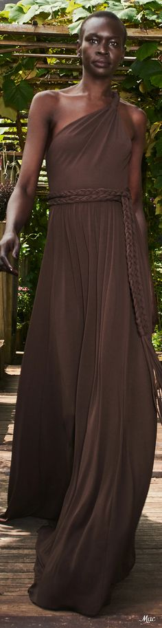 Spring 2021 RTW Michael Kors Collection One Shoulder, Shoulder Dress, Michael Kors Collection, Chocolate Truffles, High Fashion, Collections, Formal Dresses, Spring, Brown