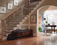 Hallway Stairs With Wooden Furniture Ideas