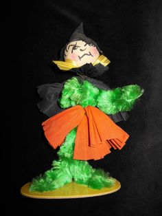 """Vintage Halloween Chenille Crepe Paper Witch Figure 8"""" 