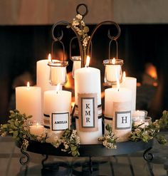 Sprucing up plain white candles with paper embellishments & monograms