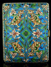 Russian Silver and Enamel Cigarette Case  Antique Cloisonne Enamel