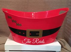 Personalized Santa Bucket, Santa's Belt Tub, Christmas Decor, Gift, Red Bucket by on Etsy Christmas Crafts To Sell, Santa Crafts, Christmas Ideas, Merry Christmas, Christmas Decorations, Christmas Kitchen, Christmas Stuff, Christmas 2019, Holiday Crafts