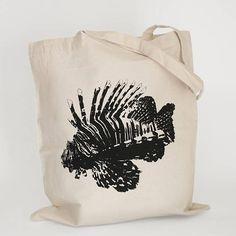 Lionfish Tote Bag, Fish Tote Bag, Ocean Tote Bag, Beach Tote Bag, Causal Tote Bag, Animal Tote Bag, Gift under 15, Aquatic Gift