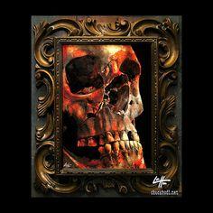 17 Teeth  Original Drawing  Skull Skeleton Dark Art by chuckhodi