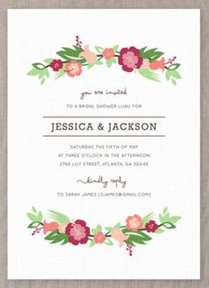 Add a tropical touch to celebrate the bride to be with this unique bridal shower invitation design from Minted.