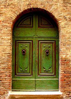 Florence, Italy -- Green Door Photograph by Ramona Johnston Arched Doors, Entry Doors, Windows And Doors, Portal, Door Knockers, Door Knobs, Door Handles, Italian Doors, When One Door Closes