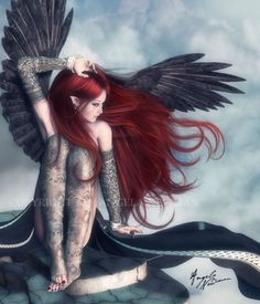 Red-haired angel with black wings