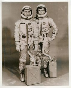 A vintage NASA press pic shows Gemini 3 astronauts Gus Grissom and John Young pose for an official portrait on March 17, 1965. (Stellar Views)