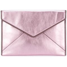 Rebecca Minkoff envelope clutch ($118) ❤ liked on Polyvore featuring bags, handbags, clutches, pink, pink purse, pink envelope clutch, envelope clutch, pink clutches and genuine leather purse