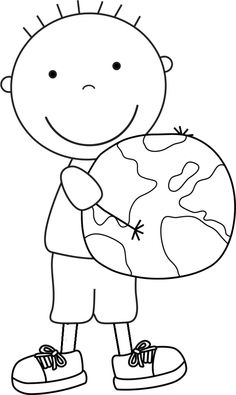 Earth Day Boy World coloring picture for kids