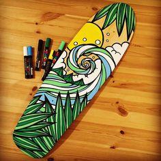 Surfboard designs and art ideas 00030 Painted Skateboard, Skateboard Deck Art, Skateboard Design, Custom Skateboard Decks, Molotow Marker, Posca Marker, Graffiti Art, Graffiti Drawing, Surfboard Painting