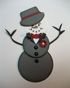 Dapper Snowman - never would have thought to slim down the bird punch leaves for the arms.  Great idea!