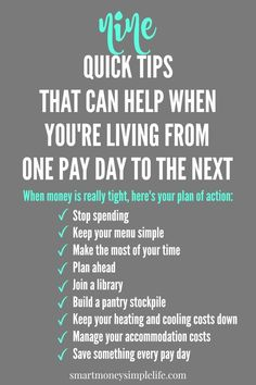 When Money Is Tight - Tips for Living on Next to Nothing
