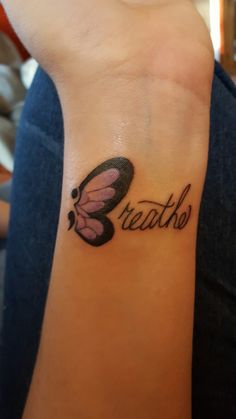 Semicolon butterfly. Wings are capital B of the word Breathe