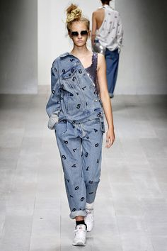 allover number print  over denim tuxedo  roll those cuffs high, girl