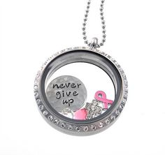 Breast Cancer Necklace / Awareness Jewelry / Living Locket by Silver Impressions Hand Stamped Jewelry