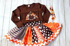 girls thanksgiving outfit turkey outfit by LightningBugsLane, $53.00