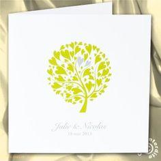 Faire-part de mariage arbre à coeurs verts
