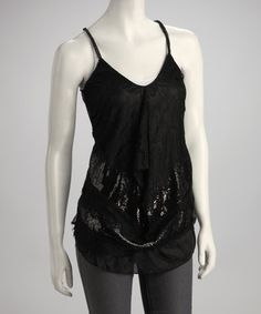 Take a look at this Black Lace Racerback Camisole by A'reve on #zulily today!